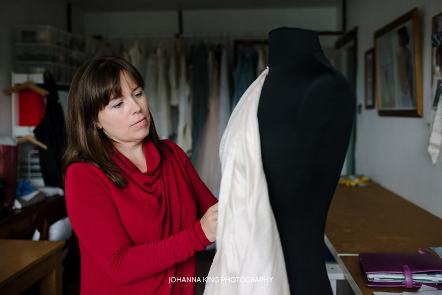 Photos of Sarah Foy Couture working in her studio in Dublin