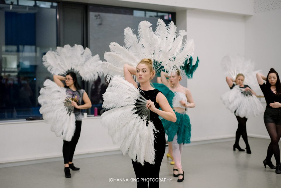 Behind-the-scene photographs of a burlesque class with Lisa at the Irish Burlesque Academy